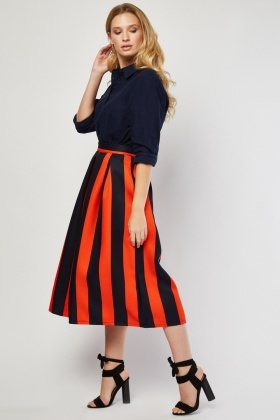 Woven Flared Stripe Skirt