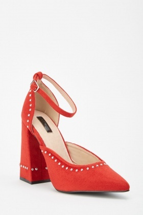 Lost Ink Theo Stud Block Heels