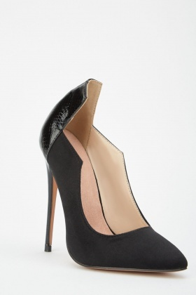 Lost Ink Wide Fit Angled Cut Out Court Shoes