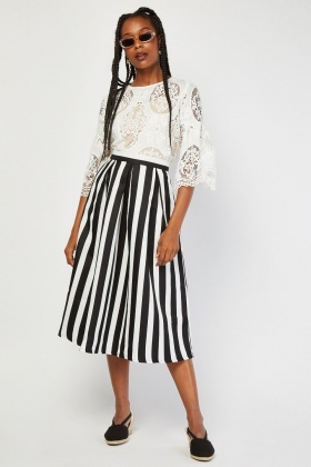 Box Pleated Midi Stripe Skirt