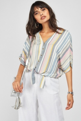 Candy Stripe Batwing Sleeve Top