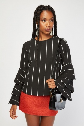 Ruffle Stripe Sleeve Blouse