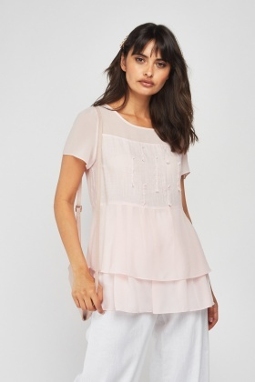 Sheer Chiffon Ruffle Contrast Top