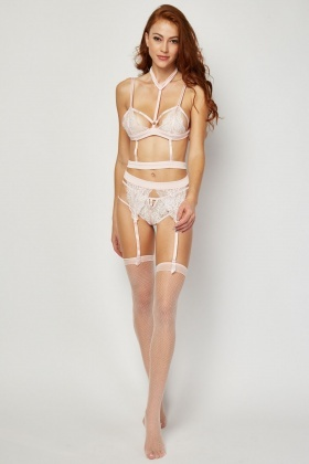Choker Lace Bra And Suspender Stockings Set