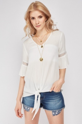 Crochet Sleeve Trim Casual Top