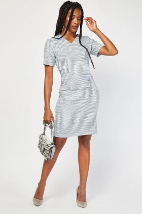 Embossed Triangle Pattern Pencil Dress