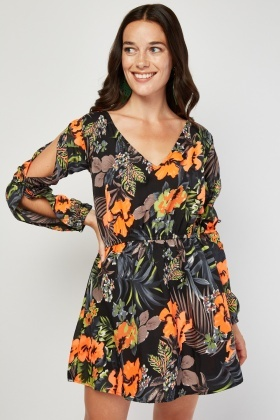 Flower Pattern Tunic Dress