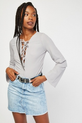 Lace Up Basic Ribbed Top