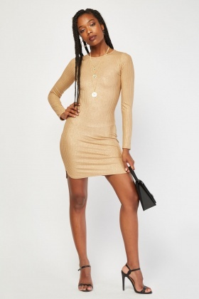 Long Sleeve Metallic Rib Dress