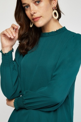 Ruffle Neck Green Blouse