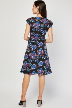 Vintage Printed Cap Sleeve Dress