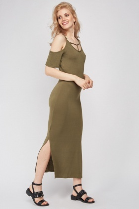 Cold Shouler Maxi Jersey Dress