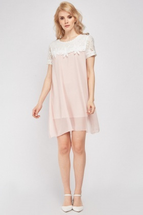 Crochet Panel Chiffon Babydoll Dress