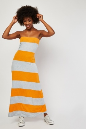 Strapless Colour-Block Maxi Dress