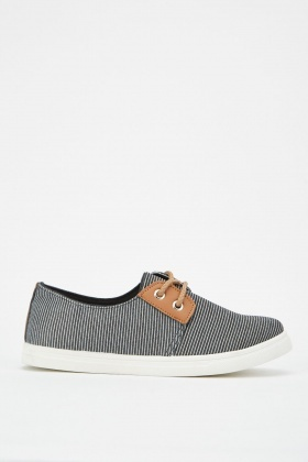 Contrasted Lace Up Plimsolls