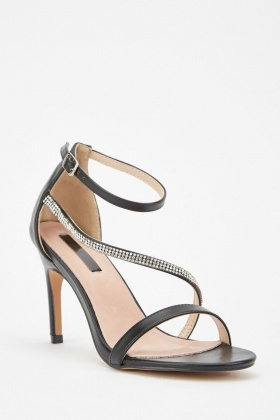 LOST INK Lila Jewelled Asyem Strapped Heeled Sandal