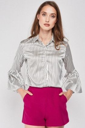 Bell Sleeve Stripe Sateen Shirt