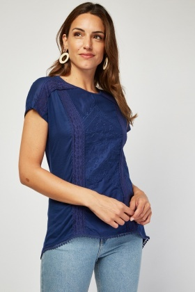 Crochet Stitched Trim Basic Top