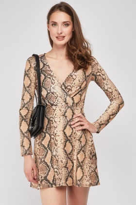 Shimmery Python Print Wrap Dress