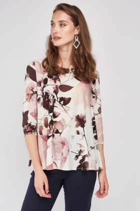Watercolor Flower Print Top
