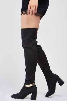 LOST INK Shannon Chain Back Thigh High Boots