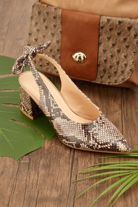 Mock Croc Low Heel Shoes