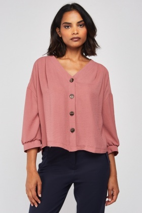 Button Front Mauve Blouse