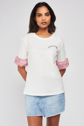 Faux Fur Trim T-Shirt