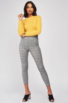High Waist Plaid Skinny Trousers