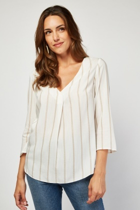 Metallic Stripe Sheer Blouse