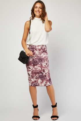 Rose Print Textured Skirt