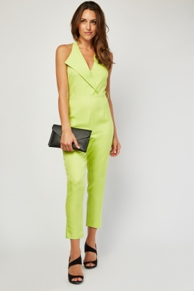 Single Lapel Front Halter Jumpsuit