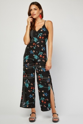 Tie Up Floral Printed Jumpsuit