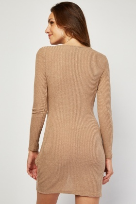 Twisted Ribbed Wrap Dress