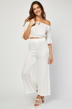Wide Cut Crinkle Trousers