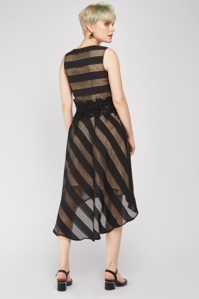 Asymmetric Stripe Dip Hem Skirt