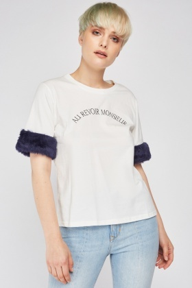 Faux Fur Trim Sleeve T-Shirt