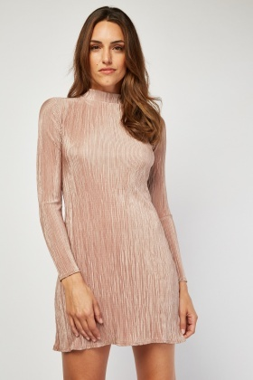 Long Sleeve Mini Plisse Dress