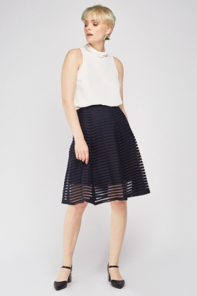 Perforated Midi A-Line Skirt