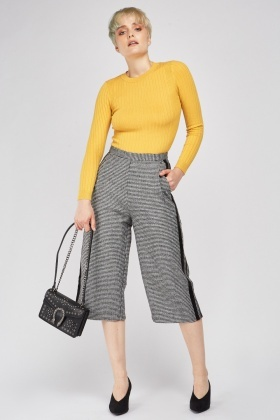 Puppytooth Woven Culotte Trousers