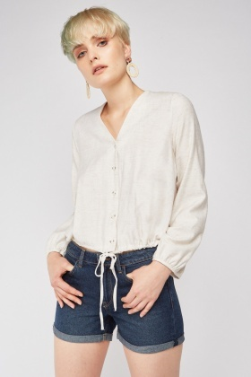 Tie Up Waist Hem Blouse