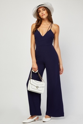 Wide Leg Indigo Jumpsuit