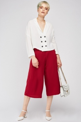 Wide Leg Red Culotte Pants