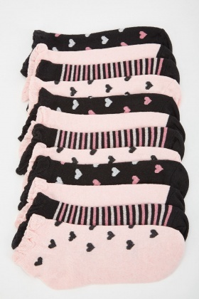 12 Pairs Of Heart Stripe Contrast Socks