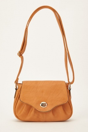 Flap Front Textured Cross Body Bag