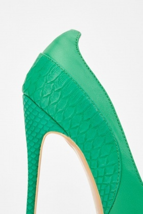33b5c6683 Lost Ink Charly Textured Mix High Heel Court Shoes - Green - Just £5