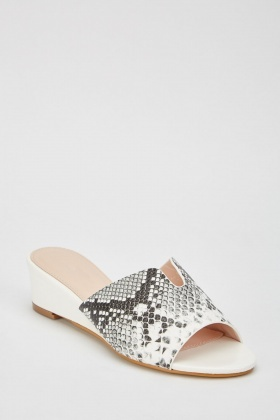 Mock-Croc Textured Low Wedge Sandals