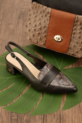 Mock Croc Textured Slingback Shoes