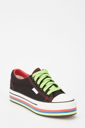 Multi Striped Platform Trainers