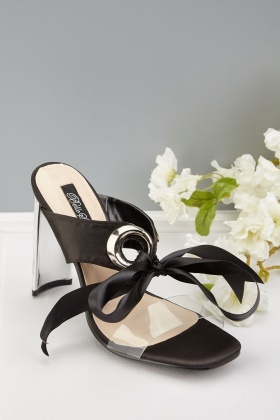 Sateen Tie Up Heeled Sandals